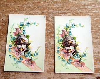 Vintage Floral Cards Pansy Flowers Set of Two Vintage Postcards Great Craft Supply Easter Flower Cards Spring Flowers Vintage Cards