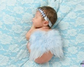 Newborn Angel Wings Baby and Headband Set, Light Blue Newborn Photo Prop Baby Girl Photos - Racquel Style Wings and Head Band Set
