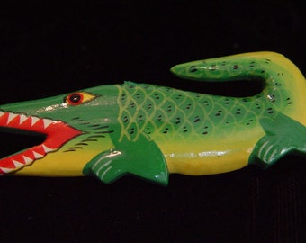 Crocodile Gator Tropical Jewelry- Vintage Pin Brooch-Colorful Painted Wood