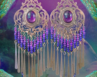 Large Exotic Amethyst Purple Ombre Mystical Gypsy Fortune Teller Earrings, Moroccan Chandelier Earrings, Indigo Blue, Fantasy Jewelry