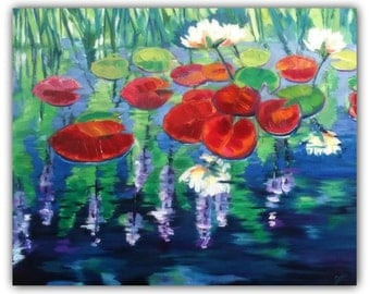 """Original Oil """"CRIMSOM LILIES"""" Original Oil Painting, Flowers, lily pond, lily pads, signed by the artist"""