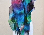 Felted scarf, silk, wool, nuno, felted, gift, fibre art, turquoise, purple, green
