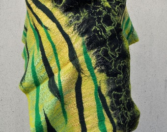 Beautiful shawl, felted scarf, silk, wool, felted, gift, fiber art, black, yellow, green