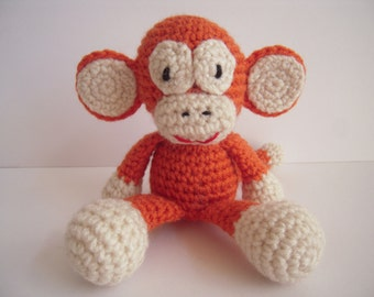 Crocheted Stuffed Amigurumi Monkey Orange