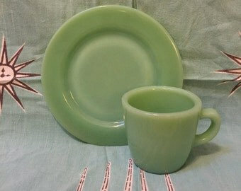 Fire King Jadeite Heavy Restaurant Ware Mug Cup and Bread Butter Plate or Saucer