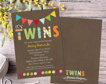 twin baby shower invitation polka dots twins gender reveal sip and see baby sprinkle birthday diaper (item 1517) shabby chic invitations