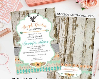 tribal baby shower invitation BOHO bridal shower wedding arrows feathers wood baby boy deer pre-baby bobo item 1238 shabby chic invitations