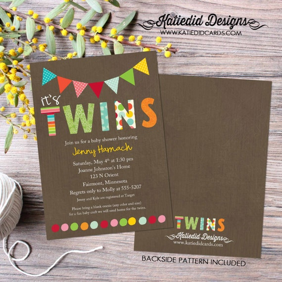 twin baby shower invitation polka dots twins gender reveal sip and see