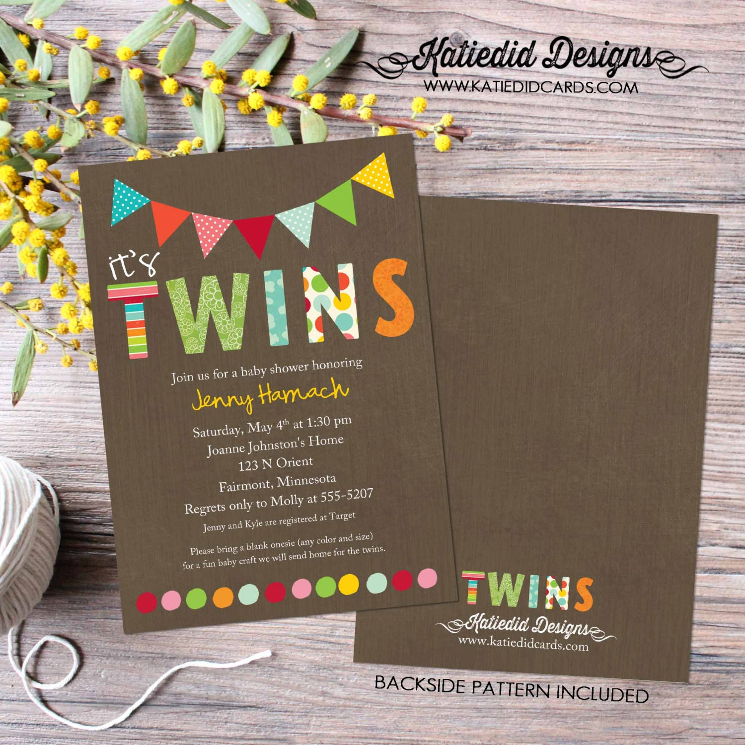 twin baby shower invitation polka dots twins gender reveal sip