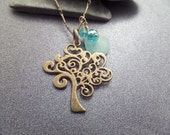 Tree of Life Necklace Scottish Sea Glass, Turquoise Blue and Bronze, Jewelry from Scotland