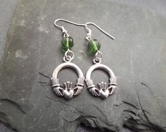 Cladaugh Earrings, Irish Earrings, Silver Charms with Green Glass Beads, Friendship earrings, Love Jewelry, Heart Earrings,