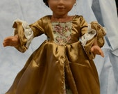 Doll clothes TV show OUTLANDER style outfit French gown gold silky floral fabric hair clip