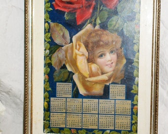 Original 1905 Metropolitan Life Insurance Co. Advertising Calendar Lithograph Print in Silver Leaf Wood Frame