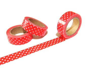 Red and White Polka Dots Washi Tape, Planner Washi Tape, Red Washi Tape 15mm x 10mt, Decorative Tape, White Polka Dots Red Planner Tape