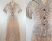 Vintage 1940s Skirt Suit / Crepe / Brown and White Plaid / Women's Suit / Peplum / XS to Small