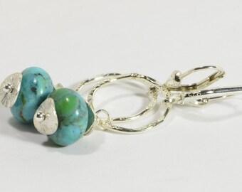 Nevada Blue Turquoise Earrings Handmade Nevada Blue Turquoise Sterling Silver Handmade Earrings