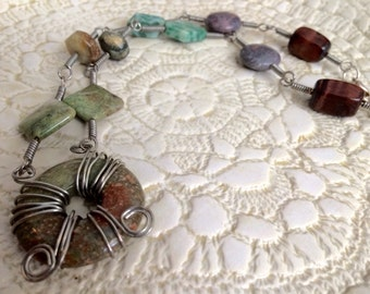 Silver Wire Wrapped Natural Gemstone Necklace