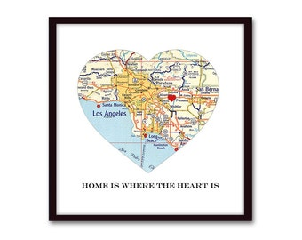Heart Map Art, Long Distance Relationship, Going Away Gift, Housewarming Gift for Family, New Home, Moving Away Present, Personalized Gift
