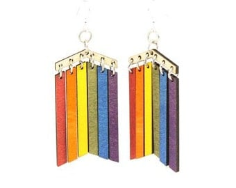 Rainbow Earrings - Laser Cut from Reforested Trees
