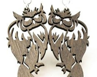 Big Barn Owls - Laser Cut Wood Earrings