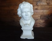 Vintage French Beethoven candle music composer figurine statue bust circa 1960-70's / English Shop
