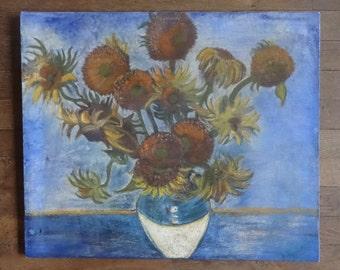 Vintage French Sunflowers Vincent Van Gogh Reproduction Copy Oil Painting Art Cafferia circa 1970-80's / English Shop