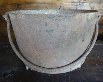Antique French Large Heavy Cauldron Pot Cooking Fireplace Rusty Planter Plant Pot Witch circa 1800-1900's / English Shop