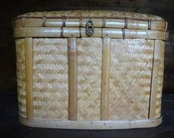 Vintage Japenese large square wedding trousseau treasure picnic bamboo woven storage basket case with lid circa 1950-60's / English Shop
