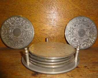 Vintage English Metal Charger Cup Glass Stand Trivet Coaster Set 1950-60's / English Shop