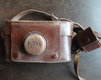 Vintage English Leather Brown Purma Camera Case Carry Holdall Carrier Case circa 1950-60's / English Shop
