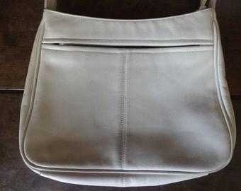 Vintage English Leather White Ivory Ladies Handbag Carry Case Shoulder Carrier Soft Accessories Hand Bag circa 1970-80's / English Shop