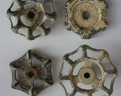 Vintage Faucet Handles-Sweet Snowy Patina Sampler- Unique- 4 Shabby Chic -Valve Handles-Shabby Chic,Reclaimed,Funky ,Garden Knobs