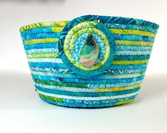 Large Handmade Basket   Hand Coiled Rope   Clothesline Bowl   Aqua and Lime Green Organizer