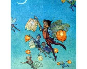 Fairy Print - Faerie Lanterns - Repro Margaret Tarrant Flower Fairies