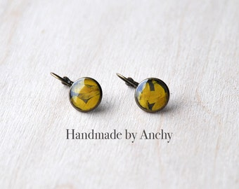 Resin real yellow flower petals in crystal clear resin antique bronze dangle earrings