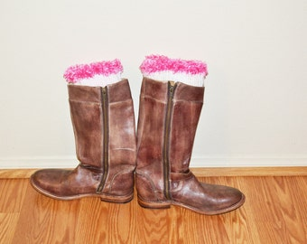 White/Pink Boot Cuffs,  Crochet Toppers, Boot Socks, Faux Leg Warmers, Stretchy, Made in the USA,