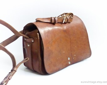 Vintage Tan Leather Messenger Tool Bag Shoulder Bag Camera Bag 50s/60s