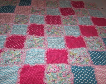 Small Rag Quilt - Rag Throw - Pink and Blue Rag Quilt - Stroller Quilt - Car Seat Quilt - Pink and Blue Rag Throw - Lap Quilt
