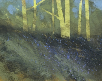 Original abstract tree painting - New clearing