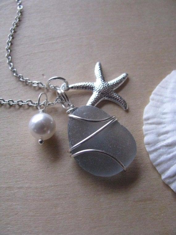 Soft Gray Sea Glass Necklace Grey Sea Glass Jewelry Starfish Necklace Real Beach Glass Jewelry