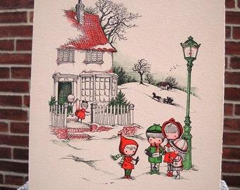 Joan Walsh Anglund Vintage Drawing Christmas Carolers