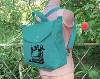 Turqoise Green cotten canvas backpack, sewing machine screenprinted backpack, canvas messenger bag, travel bag, hand bag, shoulder bag