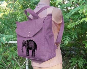 Purple cotten canvas elephant printed backpack, cotton canvas messenger bag, canvas handbag, travel bag, laptop bag, shoulder bag