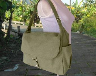womens shoulder bag, olive canvas messenger bag, travel bag for women