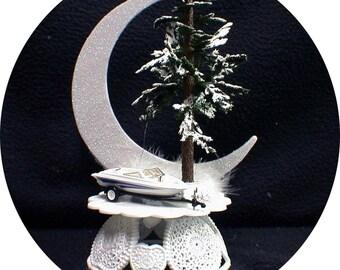 Sail boat sailing Wedding Cake Topper ocean Sea Beach Tropical star fish Nature Groom top