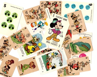 20 Vintage Disney Game Cards - Mixed Media, Collage, Assemblage, Travel Journal Supplies - Mickey Mouse, Donald Duck, Snow White, Pinnochio