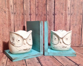 Fat Owl Figurines Set of Bookends//Available in a Variety of Colors//Gifts for Her//Farmhouse Decor//Handmade in the USA//Gifts Under 25