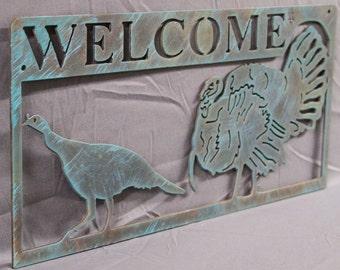 Turkey Welcome Sign  | Wall Art | Home Decor | Hunting Decor | Turkey Hunting Decor | Wildlife Scene | Outdoor Scene | Wildlife Sign