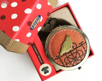 New in Box Fossil Mirror Compact with Bird Partridge