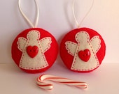 Angels felt ornaments - set of 3 red felt Christmas tree ornaments - angel decoration - Holiday Christmas decor - red and cream